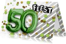 Uitnodigingen - Uitnodiging 50 ballon groen - SG