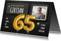 Uitnodigingen - Uitnodiging ballonnen goud krijtbord
