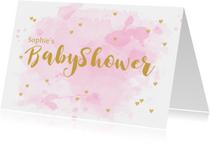 Uitnodigingen - Uitnodiging babyshower aquarel hartjes roze
