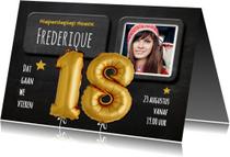 Uitnodigingen - Uitnodiging 18 Ballon goud op krijtbord