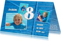 Uitnodiging blauw hout kind - OT