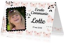 Communiekaarten - Uitnodiging communie met lieve roze vlinders en eigen foto