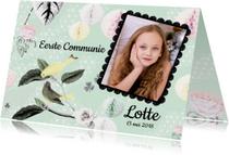 Communiekaarten - Uitnodiging Communie met lieve vogeltjes en aanpasbare foto