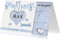 Doopkaarten - Uitnodiging doopfeest jongen met houten hart