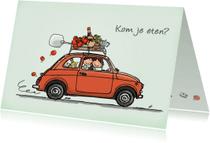 Uitnodigingen - Uitnodiging eten Fiat500