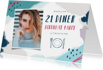 Uitnodigingen - Uitnodiging etentje 21 diner met eigen foto