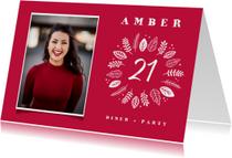 Uitnodigingen - Uitnodiging etentje (21) diner stijlvol en hip met blaadjes