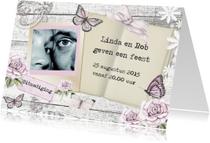Uitnodigingen - uitnodiging feest vintage vlinders