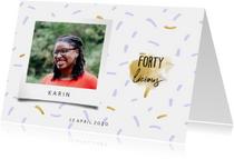 Uitnodigingen -  Uitnodiging fortylicious met polaroid foto en confetti