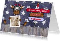 Kinderfeestjes - Uitnodiging giraffe en vogel Boy