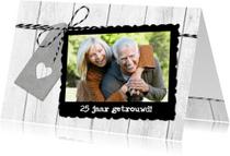 Jubileumkaarten - Uitnodiging Jubileum Hout Hartlabel Foto