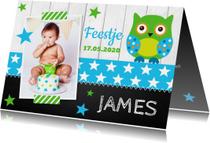 Kinderfeestjes - Uitnodiging kinderfeestje jongen uiltje sterren krijtbord