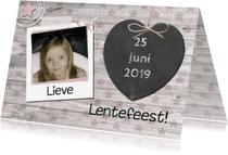 Communiekaarten - uitnodiging lentefeest meisje