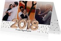 Uitnodigingen - Uitnodiging met het jaartal 2018  goud ballonnen