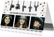 Uitnodigingen - Uitnodiging party lampjes slinger confetti