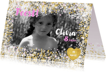 Kinderfeestjes - Uitnodiging stijlvolle fotokaart hartjes een bloemen