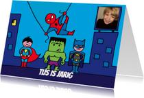 Kinderfeestjes - uitnodiging superhelden feestje