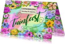 Uitnodigingen - Uitnodiging tuinfeest bloemen - HE