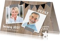 Uitnodigingen - Uitnodiging verjaardag fotocollage houtlook slinger