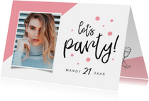 Uitnodiging verjaardag vrouw hip let's party met foto