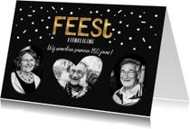 Uitnodigingen - Uitnodiging verjaardagsfeest samen confetti goud
