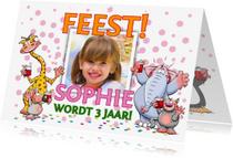 Kinderfeestjes - Uitnodiging voor een feest voor een meisje met grote teksten