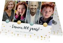 Uitnodigingen - Uitnodiging voor een samen 100 feestje met 4 eigen foto's