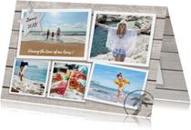 Vakantiekaarten - Vakantie zomergroet hout