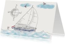 Vakantiekaarten - Vakantiekaart Illustratie zeil