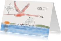Vakantiekaarten - Vakantiekaart Zeilboot Flamingo