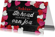 Valentijnskaarten - Valentijn krijtbord hartjes
