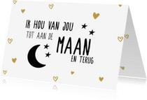 Valentijnskaarten - Valentijnsdagkaart tot de maan en terug