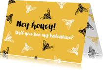 Valentijnskaart bijtjes - Bee my Valentine