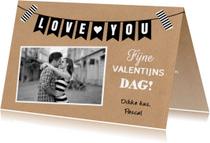 Valentijnskaarten - Valentijnskaart kraft foto slinger