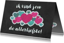 Liefde kaarten - Valentijnskaart met wolk van hartjes op krijtbord