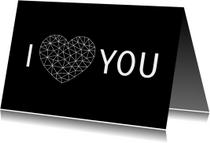Liefde kaarten - Valentijnskaart voor man met hart van low poly lijnen