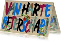 Beterschapskaarten - Van Harte Beterschap letters op steigerhout