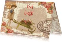 Liefde kaarten - veel liefs kruiwagen