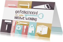 Felicitatiekaarten - Verhuiskaart felicitatie pastel gereedschap
