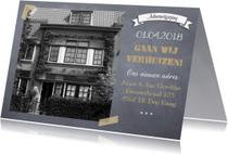 Verhuiskaarten - Verhuiskaart met eigen foto op krijtbord