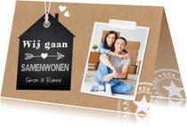 Verhuiskaarten - Verhuiskaart samenwonen foto kraft label