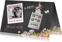 Verhuiskaarten - Verhuizen schoolbord huisje