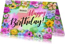 Verjaardagskaarten - Verjaardag Birthday bloemen - HE