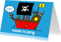 Verjaardagskaarten - verjaardag jongen stoer piraten