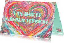 Verjaardagskaarten - Verjaardag kleurrijk hart IW