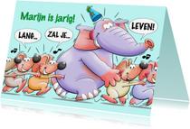 Verjaardagskaarten - Verjaardag olifant met muizen - HE