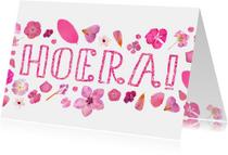 Verjaardagskaarten - Verjaardag roze bloemen