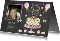 Verjaardagskaarten - verjaardag taart schoolbord