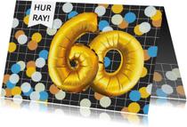 Verjaardagskaart 60 jaar confetti ballonnen