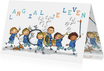 Verjaardagskaarten - Verjaardagskaart fanfare kinderen av